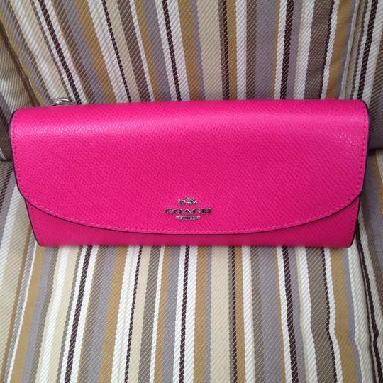 Coach Coach POP SLIM ENVELOPE WALLET FLORAL PRINT CANVAS Pink Ruby Multi New for 2015