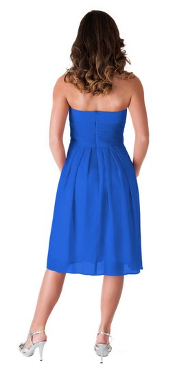 Blue Chiffon Strapless Pleated Waist Slimming Feminine Bridesmaid/Mob Dress Size 4 (S)