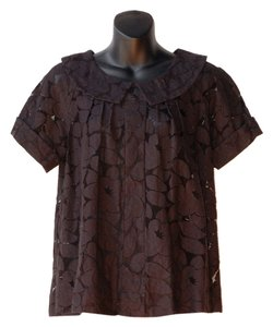 Plenty by Tracy Reese Sheer Lace Leave Print Top black