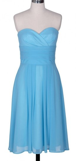 Blue Chiffon Strapless Pleated Waist Slimming Size:sm Feminine Bridesmaid/Mob Dress Size 4 (S)