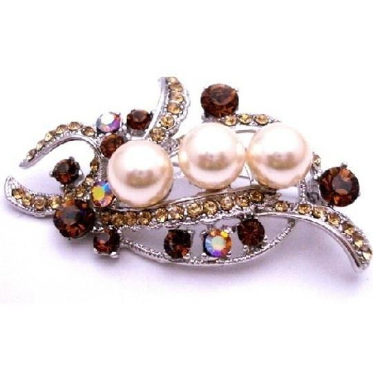 Champagne/Brown Pearls W/ Smoked Topaz Crystals Antique Gold Bouquet Brooch/Pin