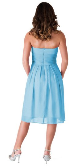 Blue Chiffon Strapless Pleated Waist Slimming Feminine Bridesmaid/Mob Dress Size 12 (L)