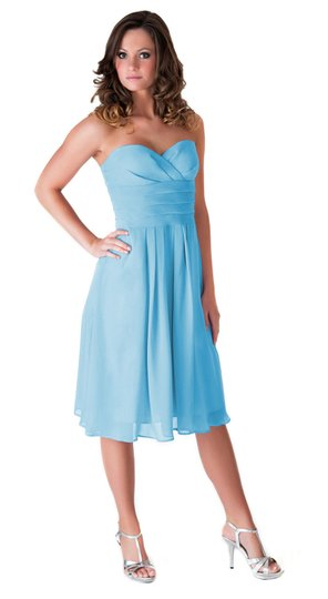 Blue Chiffon Strapless Pleated Waist Slimming Size:xl Feminine Bridesmaid/Mob Dress Size 16 (XL, Plus 0x)