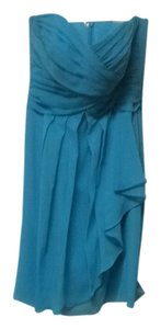 David's Bridal Bridesmaid Beach Blue Strapless Dress