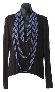 Ronen Chen Attached Scarf Striped Top navy