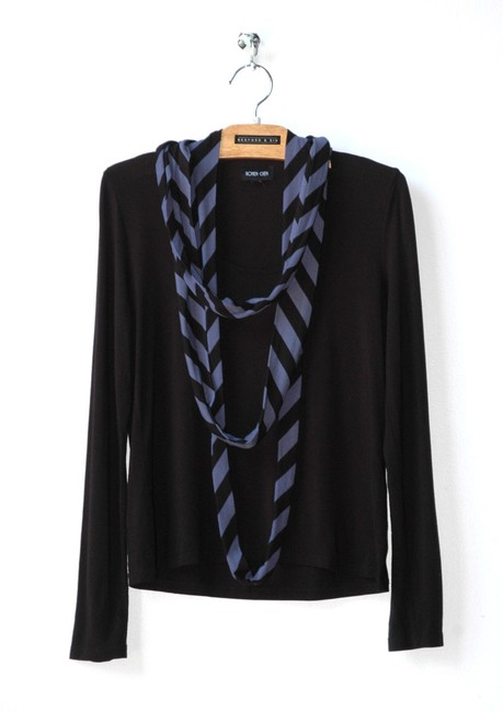 Ronen Chen Attached Scarf Striped Stretch Top navy