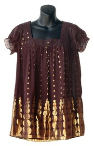 DKNY 100% Silk Fully Lined Top brown