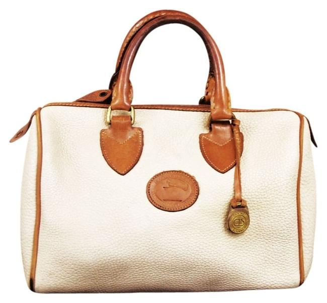 Item - White Flap Strap Handbag Beige Cream and Brown with Gold Toned Hardware. Leather Backpack