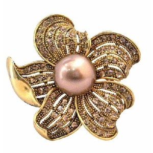 Brown/Gold Vintage Golden Shadow Crystals Pearls Sunflower Brooch/Pin