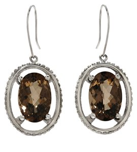 14K White Gold 6.62ctw Smoky Quartz Drop Earrings
