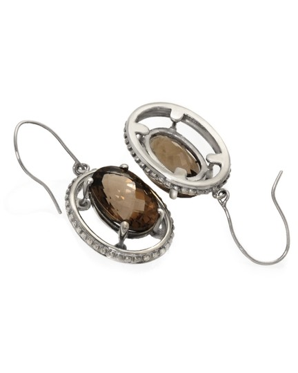 Other 14K White Gold 6.62ctw Smoky Quartz Drop Earrings