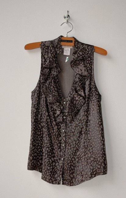 LaROK Animal Print Silk Button Down Top gray