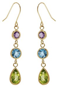 Other 14K Yellow Gold Gemstone Earrings with Peridot, Amethyst Blue Topaz and Peridot