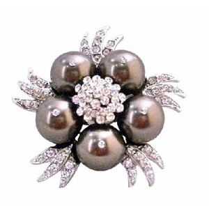 Brown Darkest Swarovski Chocolate Pearls Vintage Brooch/Pin