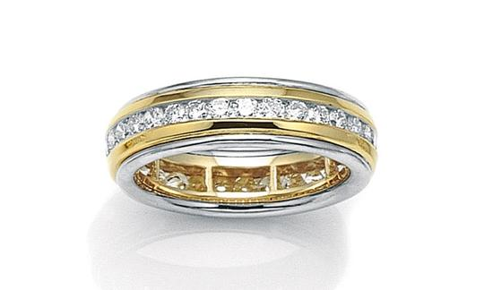 18kt Italian Two Tone Diamond Women's Wedding Band