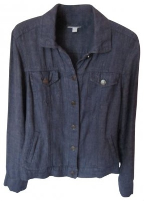 Charter Club Linen navy blue Womens Jean Jacket