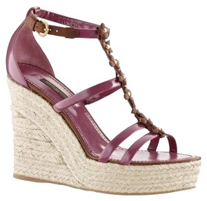 Louis Vuitton Braided Rope Wedge Platform DARK PINK AND BROWN Platforms