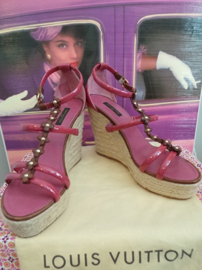 Louis Vuitton Braided Rope Wedge Leather Floral Quatrefoil Rubber Sole DARK PINK AND BROWN Platforms