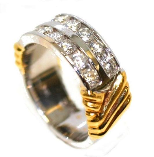 18kt Two Tone Special Holiday Gift Diamond Women's Wedding Band