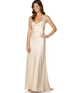 Calvin Klein Champagne Satin Cd5b1852 Y Wedding Dress Size 8 M