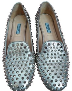 Prada Smoking Studded Leather Italy Loafer SILVER Flats