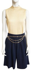 St. John Knits Knits Santana Pleated High-waisted City Sz 8 Skort Navy Blue
