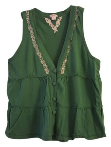 Xhilaration Boho Western Woven Vest Cotton Button Down Shirt Green