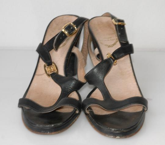 Emilio Pucci T Strap Leather black Sandals