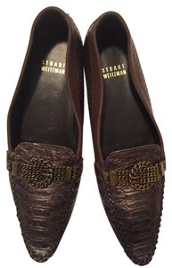 Stuart Weitzman Brown /gold with gold hardware Flats