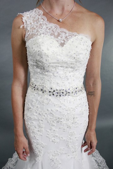 White Lace Tulle Silk and Crystal Handmade One Shoulder Mermaid with Belt Beaded Bridal Gown Modern Wedding Dress Size 4 (S)