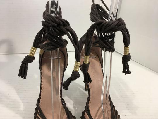 Ted Baker Many Made Italy SALE NEW Brown all leather strappy w long leather ankle calf ties Italian Sandals