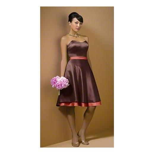 Alfred Angelo Espresso/Burnt Orange Polyester Formal Bridesmaid/Mob Dress Size 4 (S)
