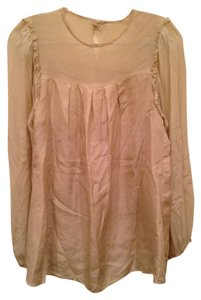 Gold Hawk Silk Silk Sheer Sleeves Sheer Long Sleeves Like New Top beige