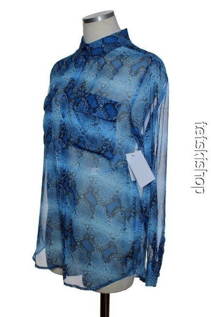 Equipment Sheer Long Sleeve Phyton Print Silk Button Down Shirt Blue