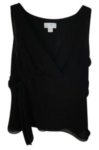 Ann Taylor LOFT Chiffon V-neck Top black