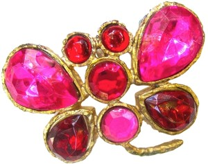 Other VINTAGE 60s Designer Butterfly BROOCH Pin Bezel Set Stones Pink Ruby Foiled Rhinestone Gold Tone HUGE 2.5