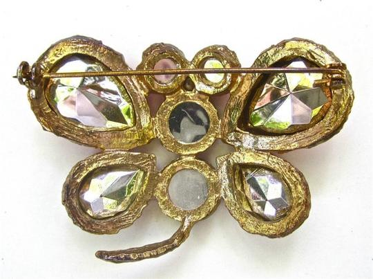 """Other VINTAGE 60s Designer Butterfly BROOCH Pin Bezel Set Stones Pink Ruby Foiled Rhinestone Gold Tone HUGE 2.5"""" Across! Unsigned"""