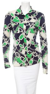 Tory Burch Shirt Dress Shirt Suit Top Green, Navy, White