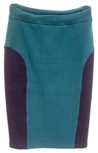 Opening Ceremony Pencil Knee Length Skirt Teal & Navy