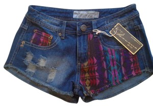 Vintage Havana 70s Denim Ethnic Print Shorts blue