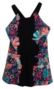 Nicole Miller Dress Shirt Top Black and floral