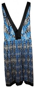 ECI New York short dress black, blue, and white Silk V-neck Sleeveless on Tradesy