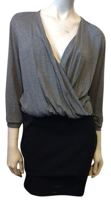 Item - Grey and Black Colorblock Knit Short Casual Dress Size 12 (L)