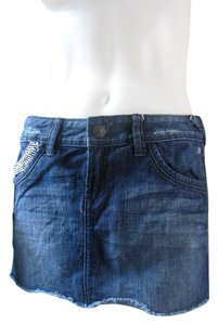 Express Distressed Frayed Bling Mini Skirt Dark Blue