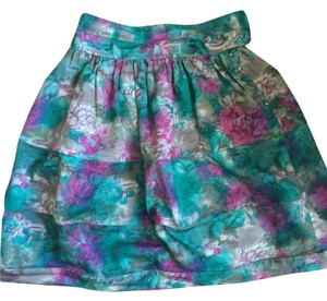 Elizabeth and James Floral Desinger Boxy Skirt Blue Green Pink