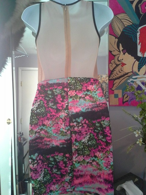 Lush Floral Bodycon Mini Nude Panel Backless Dress
