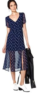 navy Maxi Dress by BB Dakota Midi Flower Print Flower Print Grunge Vintage