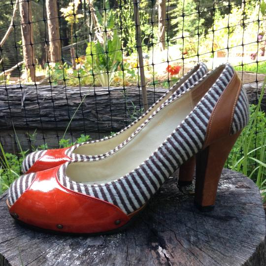 Manicure London Patent Leather Fabric Playful Illusion Red & Striped Pumps