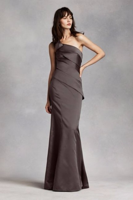 Item - Charcoal Satin One Shoulder Long Asy Style # 36200031 Formal Bridesmaid/Mob Dress Size 14 (L)