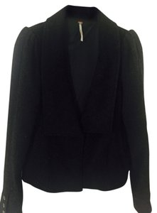 Free People Herringbone Structured Black/Grey Blazer